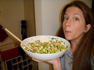 Picture of Cheri holding Giada recipe creation